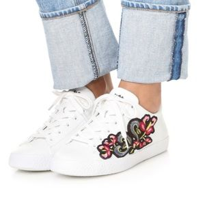 Ash Nak Bis White Leather Embroidered Sneakers